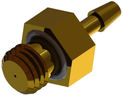 A rendered 3D model of an R I L series thread by hose barb precision orifice fitting.