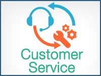 Infographic with headphones, wrench and gears and the words customer service.