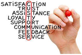 The best customer service means satisfaction, trust, assistance, loyalty, support, communication, feedback and service.