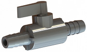 Rendered drawing of P B V series plastic ball valve.