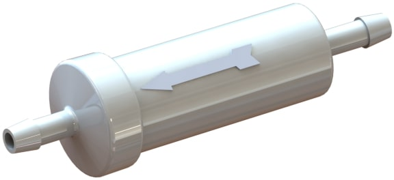7 3 9 1 0 series large plastic in-line filter with an acetal plastic housing.