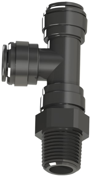 Q M R T S series black acetal male B S P T thread by metric push-in swivel run tee