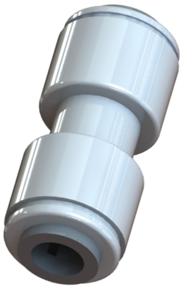 Q U C series gray acetal push-in union straight connector fitting.