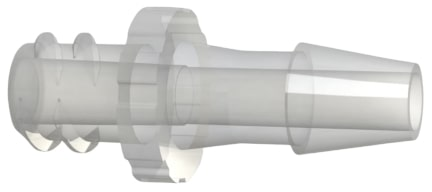 C F L 7 series female luer thread by hose barb plastic fitting.