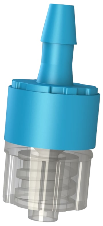 F C V 7 series I S O 8 0 3 6 9 dash 7 compliant male luer lock by hose barb filtered check valve fitting.