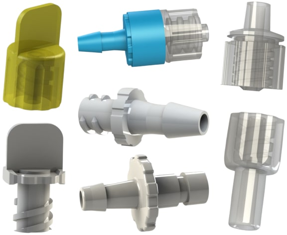An assortment of I S O 80369 compliant fittings.