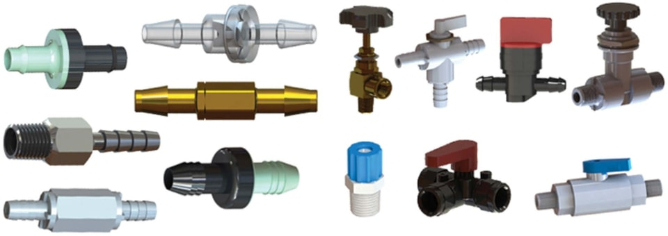 A sample selection of the types of miniature flow control valves carried by ISM.
