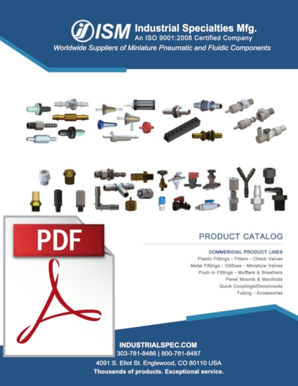 Front cover of the I S M industrial products catalog. Click here to get the catalog.