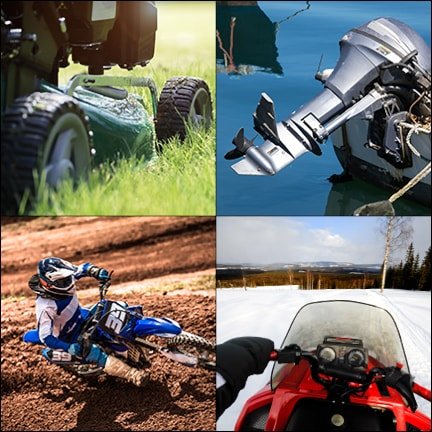 Examples of outdoor power equipment and powersports applications. Clockwise from top left: riding lawnmowers, small outboard engines, snowmobiles and motocross bikes.