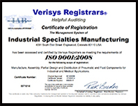 IS Med Specialties ISO Certificate