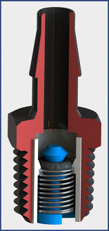 Color rendered model of cutaway customized check valve fitting barbed by thread connections
