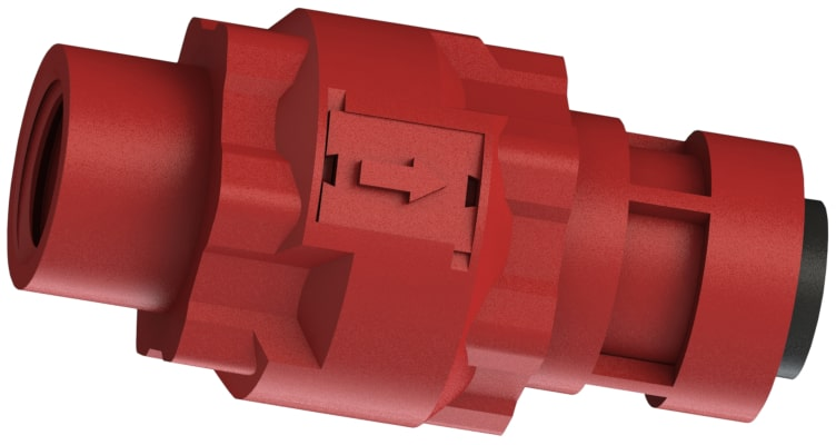 Red glass-filled polypropylene one-eighth inch B S P P thread by four-millimeter push-in C V I S series modular check valve.
