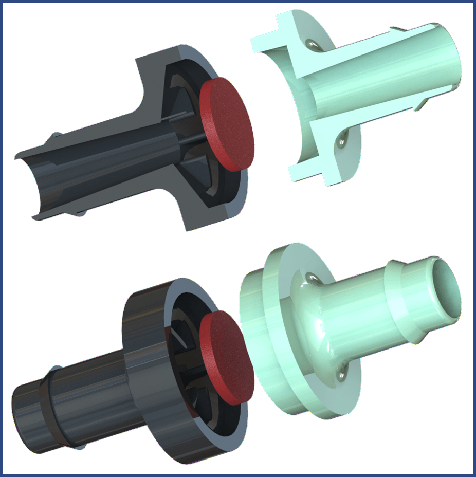 Plastic diaphragm check valves ism industrial specialties mfg rendered color images of a miniature plastic diaphragm miniature check valve ccuart Choice Image