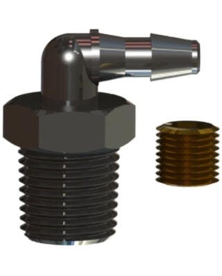 Product Components of an elbow orifice fitting with a hose barb by Male NPT thread connections
