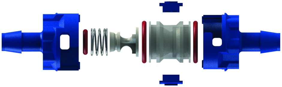 Exploded view of a glass-filled polypropylene barb by barb C V I S series modular check valve showing its components parts: blue barb by barb connectors and high-pressure locking tabs, silicone (red) O ring seals, natural polypropylene cartridge and poppet and 3 0 2 stainless steel spring.