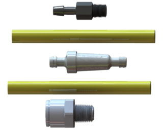 Components of a filter assembly Male NPT thread by push-in connections
