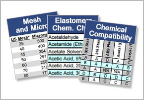 I S M's charts and resources cover pages including chemical compatibility chart and mesh and micron chart.