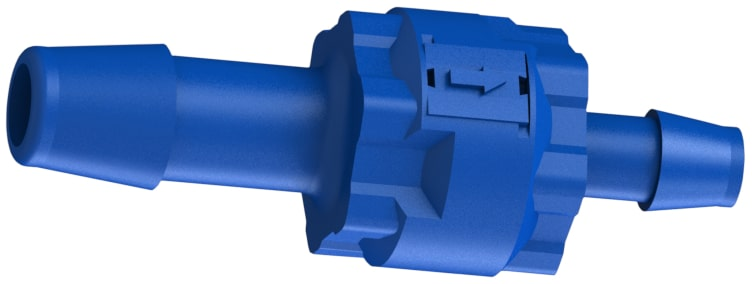 A blue glass-filled polypropylene three-eighths inch by quarter inch hose barb reducing C V I S series modular check valve.