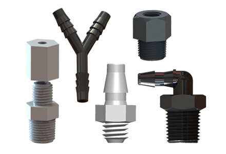 A sample selection of the types of plastic fittings carried by ISM.