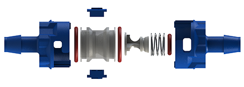 An exploded view of an ISM modular check valve. Click here to go to a landing page where you can get more information about these valves.