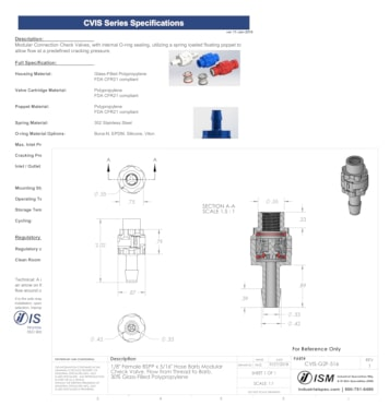 C V I S series modular check valve technical specification sheet and drawing samples.