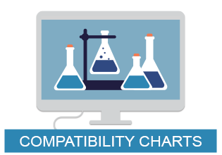 Graphic of a computer with beakers representing chemical compatibility. Click to visit all of I S M compatibility charts.