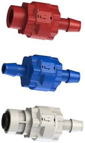 C V I S series modular check valves: red color thread by barb, blue color barb by barb and natural color barb by thread.