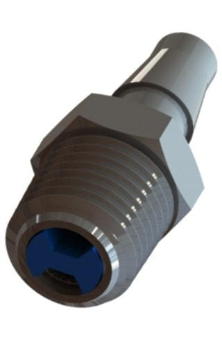 The final product of a straight check valve with a hose barb by Male NPT thread connections