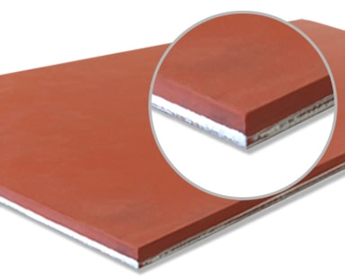 United Silicone Ultrasil (red) metal bonded silicone rubber sheet stock.