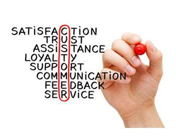 "A hand circling ""customer"" in a list of words including satisfaction, trust, assistance, loyalty, support, communication, feedback, service."