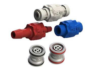 Three C V I S series modular check valves (natural, blue and red polypropylene) and two C R T G series cartridges (natural): glass-filled polypropylene natural hose barb, blue female threaded and red push-in modular check valves plus natural polypropylene