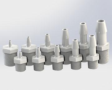 Male Thread x Barb Plastic Tube Connectors - Plastic Tube