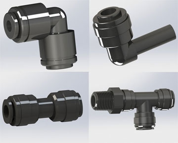 Push-In Black Acetal Metric Fittings